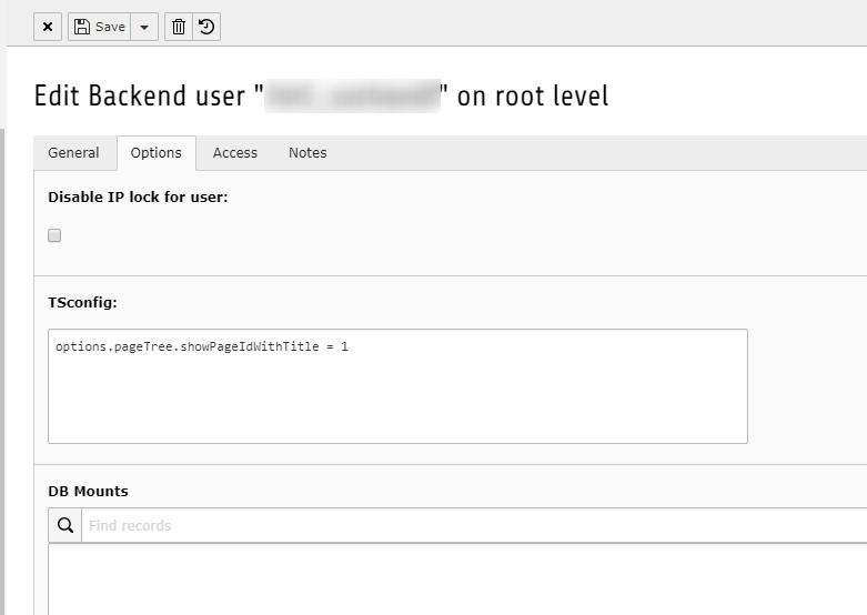 Screenshot Backend TSconfig Backenduser