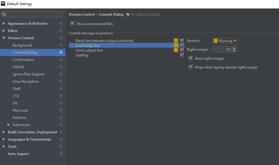 Screenshot Einstellung Commit Dialog in PHPSTORM
